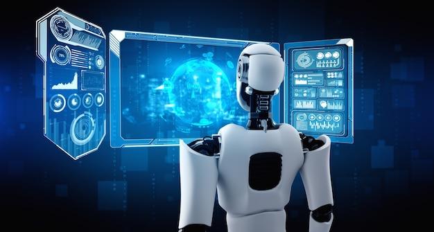 Robô humanóide ai olhando para tela de holograma mostrando conceito de big data