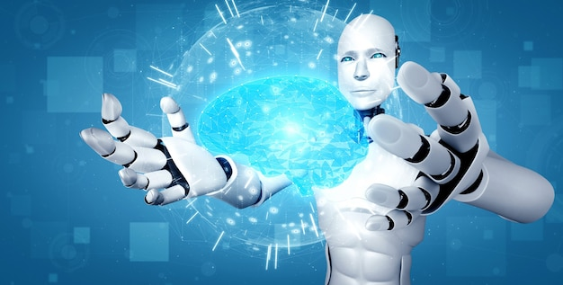 Robô humanóide ai segurando uma tela de holograma virtual, mostrando o conceito