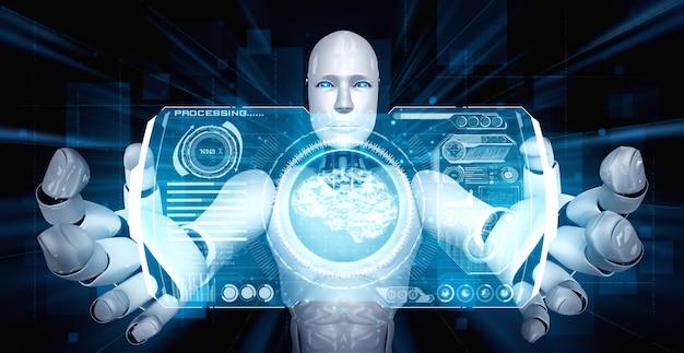 Robô humanóide ai segurando uma tela de holograma virtual