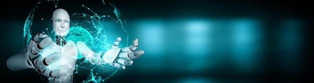 Robô humanóide ai segurando uma tela de holograma