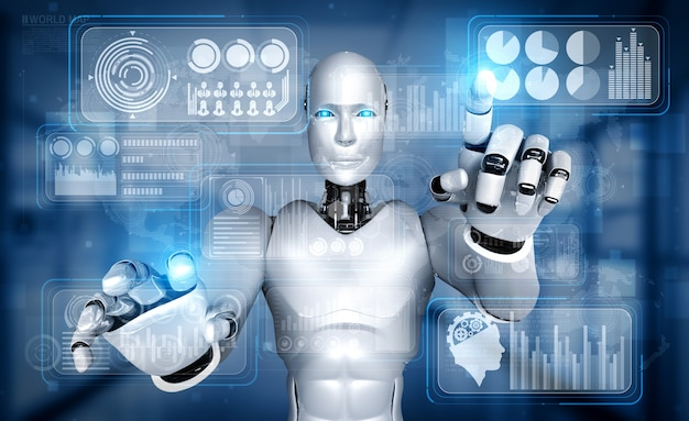 Robô humanóide ai tocando a tela do holograma virtual mostrando o conceito de big data