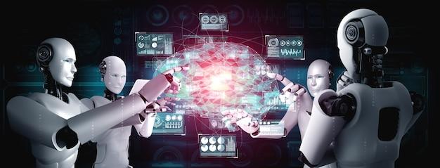 Robô humanóide ai tocando a tela do holograma virtual mostrando o conceito de cérebro ai