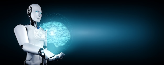 Robô humanóide de ia segurando uma tela de holograma virtual, mostrando o conceito de cérebro de ia