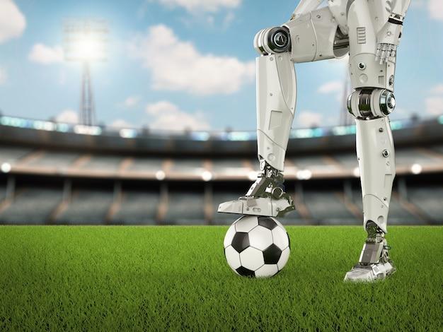 Robô humanóide de renderização 3d com bola de futebol