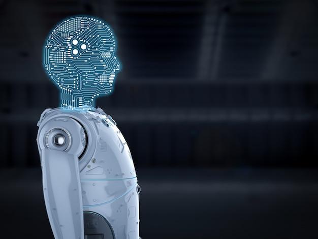 Robô humanóide de renderização 3d com circuito cerebral