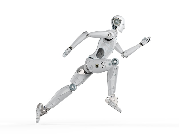 Robô humanóide de renderização 3d correndo ou pulando no fundo branco
