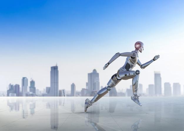 Robô humanóide de renderização 3d correndo ou pulando no fundo da cidade