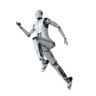 Robô humanóide de renderização 3d correndo ou pulando