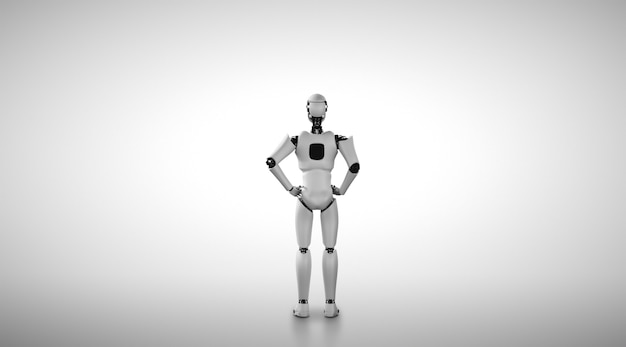 Robô humanóide em pé olhando para a frente em um fundo limpo