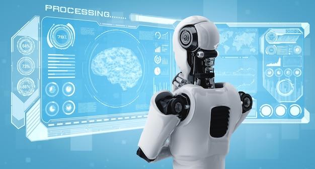 Robô humanóide pensando ai analisando a tela do holograma e mostrando o conceito
