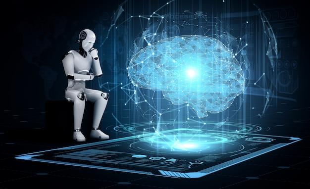 Robô humanóide pensando ai analisando tela de holograma mostrando conceito de ai