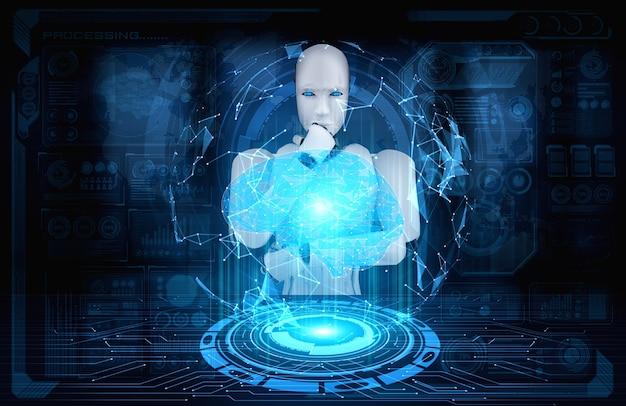 Robô humanóide pensando ai analisando tela de holograma mostrando conceito de cérebro ai