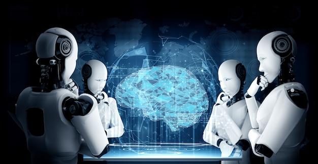 Robô humanóide pensando ai analisando tela de holograma