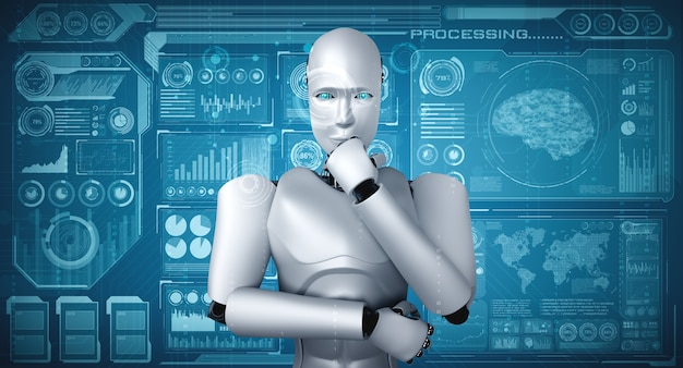 Robô humanóide thinking ai analisando tela de holograma mostrando conceito de big data analítico
