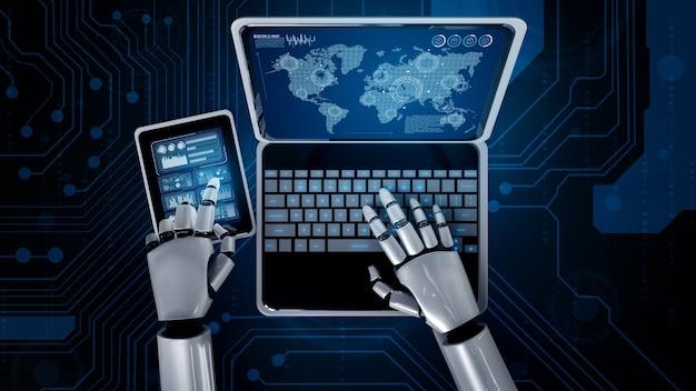 Robô humanóide usa laptop e senta à mesa para conexão de rede global