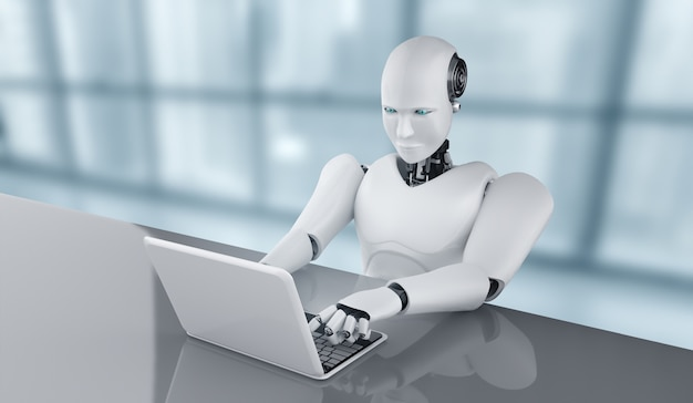 Robô humanóide usa laptop e senta-se à mesa no futuro escritório enquanto usa o cérebro pensante de ia