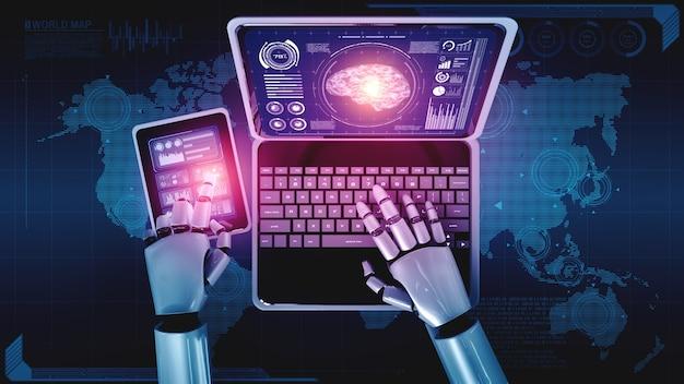 Robô humanóide usa laptop e sente-se à mesa no conceito de cérebro pensante de ia
