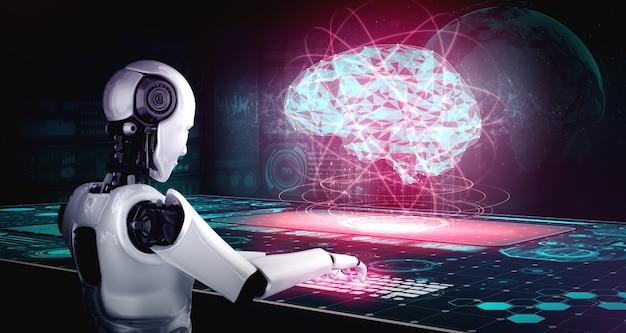 Robô humanóide usa laptop e sente-se à mesa no conceito de inteligência artificial cerebral