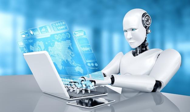 Robô humanóide usa laptop e sente-se à mesa para análise de big data