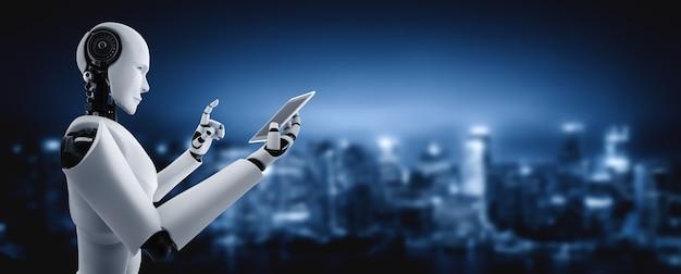 Robô humanóide usa telefone celular ou tablet no futuro escritório