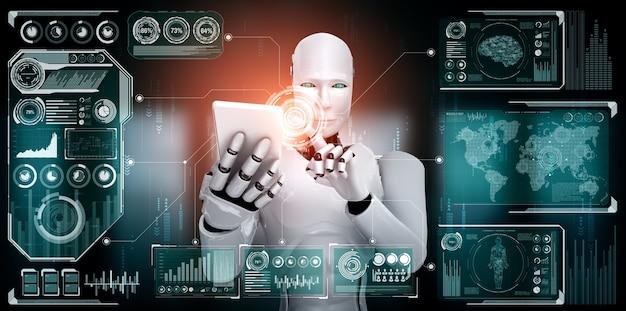 Robô humanóide usa telefone celular ou tablet para análise de big data
