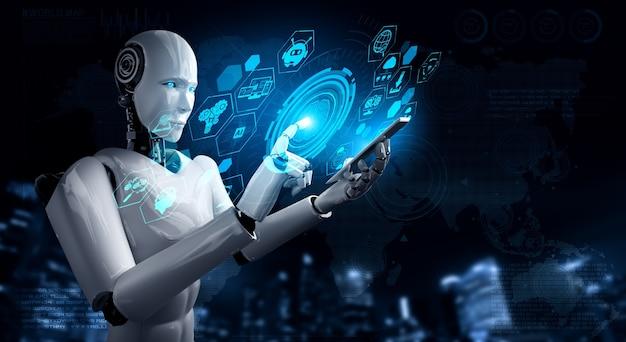Robô humanóide usa telefone celular ou tablet para conexão de rede global