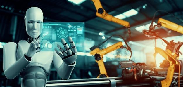 Robô industrial mecanizado e braços robóticos para montagem em produção fabril.