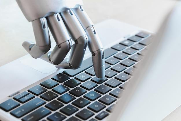 Robô, mãos, e, dedos, apontar, para, laptop, botão, conselheiro, chatbot, robotic, inteligência artificial, conceito