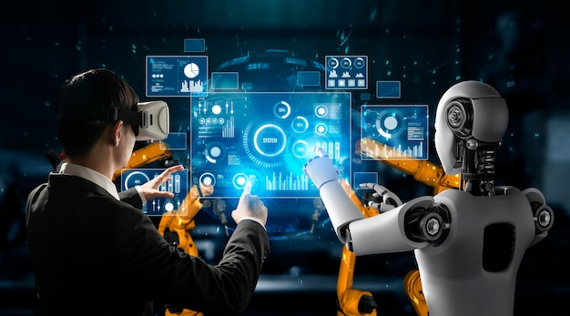 Robô mecanizado da indústria e trabalhador humano trabalhando juntos na futura fábrica
