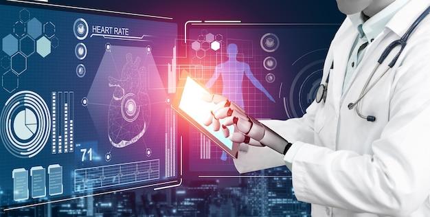 Robô médico analisando dados biomédicos