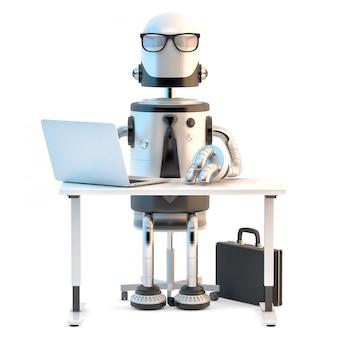 Robô no trabalho. ilustração 3d