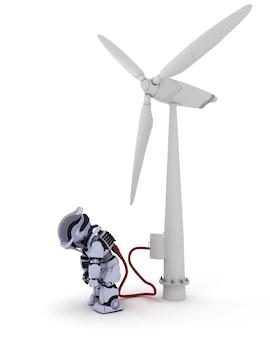 Robô recarregando por turbina eólica