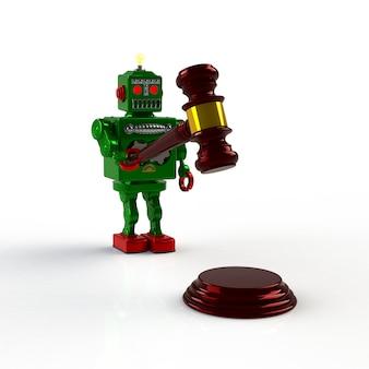 Robô retrô verde segurando o juiz martelo 3d ilustração isolado, conceito de justiça e direito