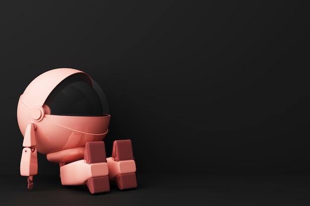 Robô rosa bonito sentado e procure na renderização em 3d preta