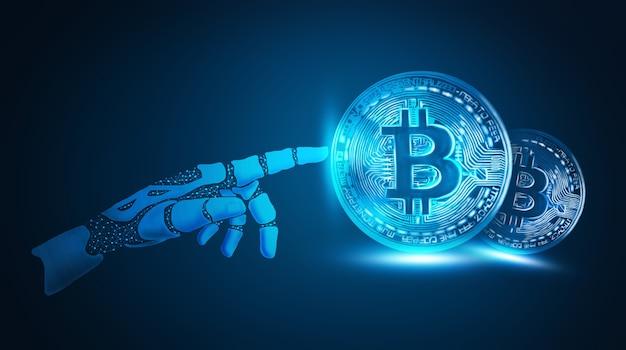 Robô trabalhando com ilustração 3d de bitcoins