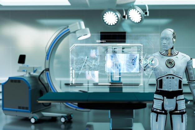 Robô trabalhando na sala de operação, tela de toque do robô e visualização de imagem de raio-x