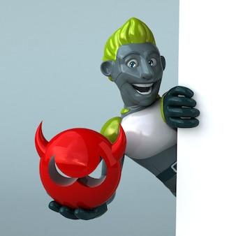 Robô verde com ilustração 3d do rosto do mal