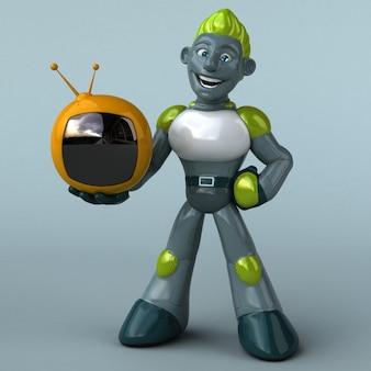 Robô verde com tv retrô