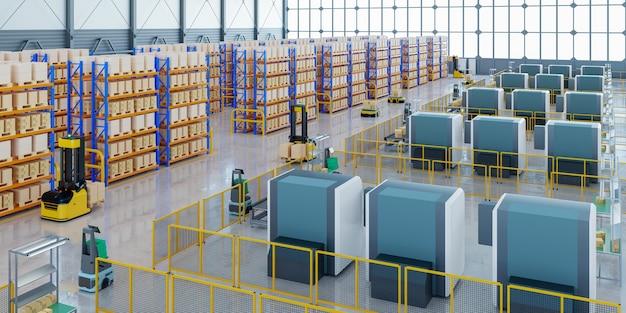 Robôs agv classificando eficientemente centenas de pacotes por hora (veículo guiado automatizado) renderização agv.3d