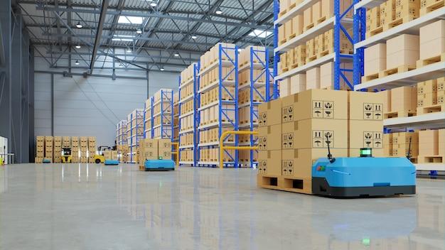 Robôs classificando com eficiência centenas de pacotes por hora. renderização 3d