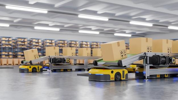 Robôs classificando com eficiência centenas de pacotes por hora