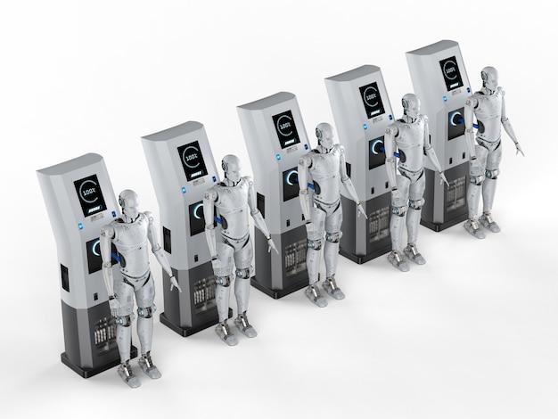 Robôs de renderização 3d carregam com estação de carga elétrica