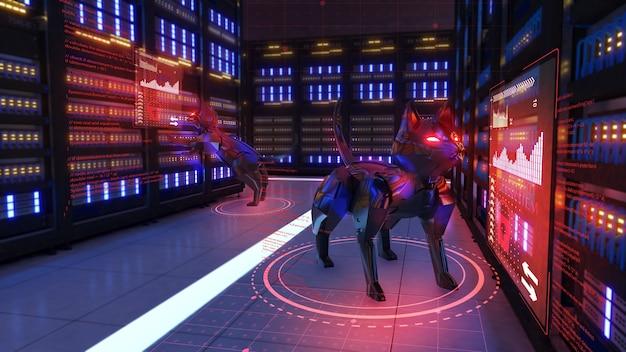 Robôs espiões que roubam dados confidenciais, hackeando sistemas de segurança, renderização 3d.