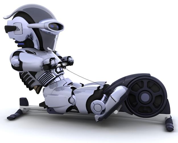 Robôs exercitando na máquina de remo