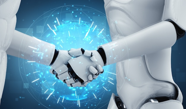Robôs humanóides apertando as mãos