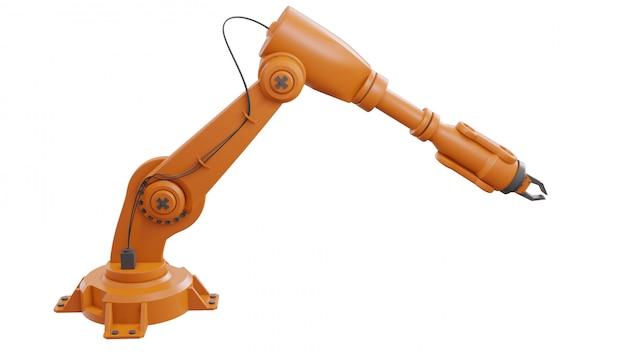 Robôs industriais diferentes isolados no fundo branco braço robótico branco de renderização 3d com espaço em branco sobre fundo branco
