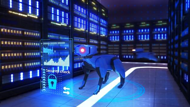 Robôs para proteger os espaços do servidor de dados, verificação de segurança, renderização 3d
