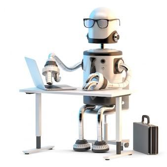 Robôs trabalhando no escritório. ilustração 3d.