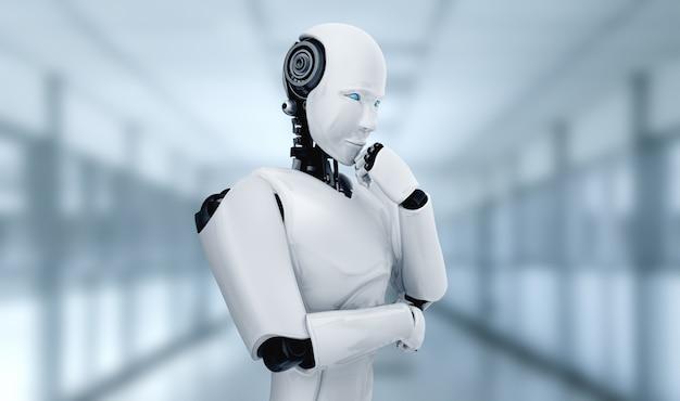 Robot humanóide pensando ai analisando dados de informações no conceito de inteligência artificial