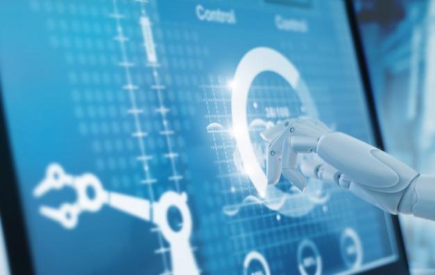 Robótica mão tocando e controle automação máquina de braços de robô na fábrica inteligente industrial